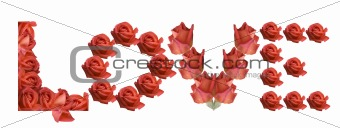 LOVE sign rose flowers
