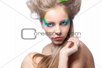 beautiful woman  with color makeup