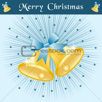 Christmas bells on blue sunburst
