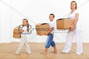 Family moving in to a new home