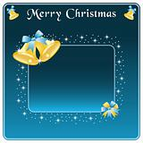 Christmas bells gold and bows on blue