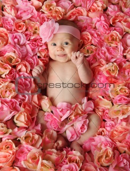 Baby lying in bed of roses