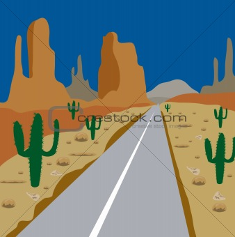 Car road amongst cactus and sand