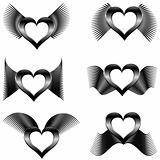 set of the abstract wings with hearts