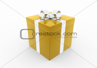 3d gold silver gift box