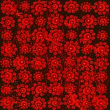 Red and black background with circles