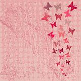 Red grunge background with butterflies