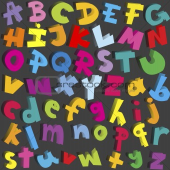 Small and capital letters of alphabet