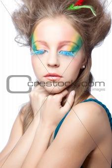 beautiful woman  with color makeup