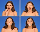 beautiful woman chewing bubble gum