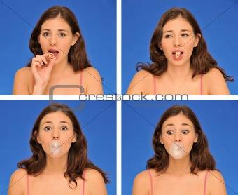 beautiful woman chewing bubble gum