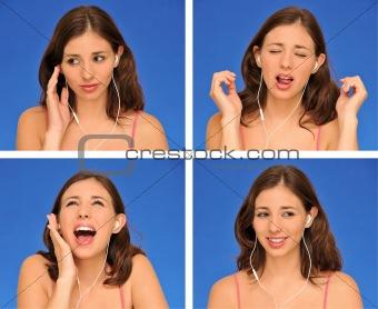 beautiful woman and earphones