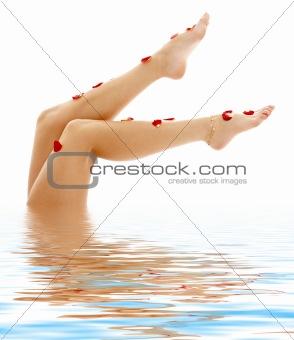 beautiful legs in blue water