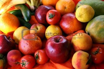 bunch of fresh fruits & vegetables