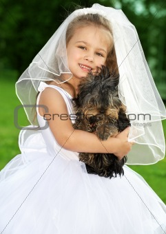 little bridesmaid with cute dog