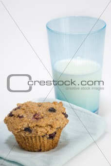 bran muffin with milk