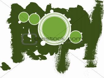 Green Circles with Dark Green grunge background