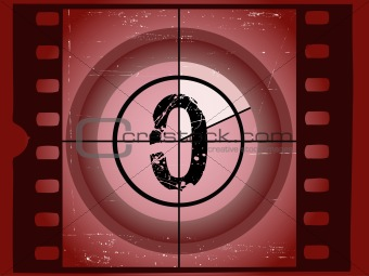 Old Red Scratched Film Countdown - At 0