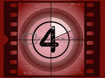 Old Red Scratched Film Countdown - At 4