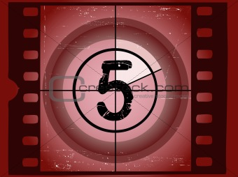 Old Red Scratched Film Countdown - At 5