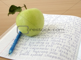 apple with notebook