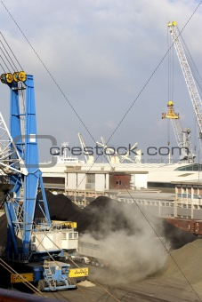 freight ship being loaded with aggregate