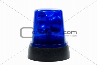 blue police light isloated on white background