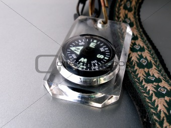 Close up shot of compass on larnyard
