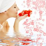 red petals and flowers in water #2