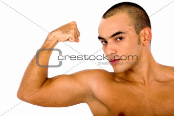 fit man showing off his muscles