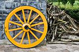 Wooden Wagon Wheel and Branches