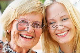 Grandparent and daughter
