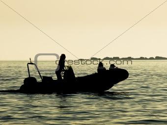 Motor boat - sunset