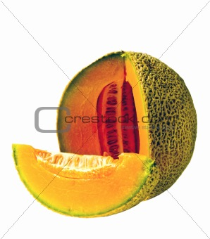 Isolated Cantaloupe Wedge