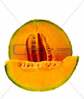 Isolated Cantaloupe Wedge