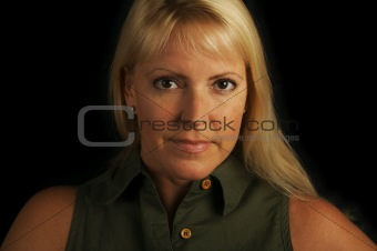 Attractive Blond Haired, Brown Eyed Woman.