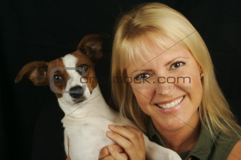 Attractive Woman & Jack Russell Terrier Dog