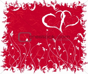 Grunge valentines background, vector