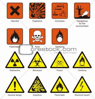 Image description science laboratory safety chemical hazard signs
