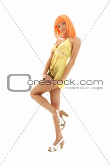orange hair girl in yellow dress