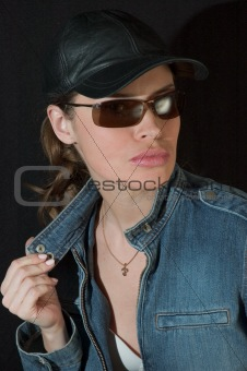 Beauty in black sunglasses