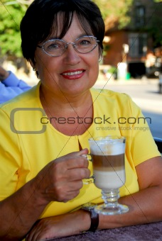 Mature woman coffee