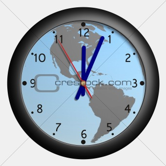 Clock with earth globe bkg