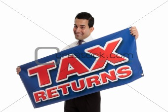 Accountant or tax agent with sign
