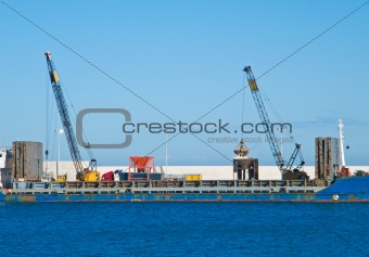 Cargo ship. Seaport of Monopoli. Apulia.