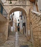 Characteristic alley of Conversano. Apulia.