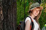 young woman backpacker