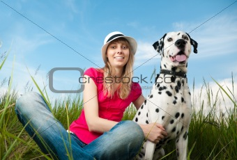 young woman with her dog pet