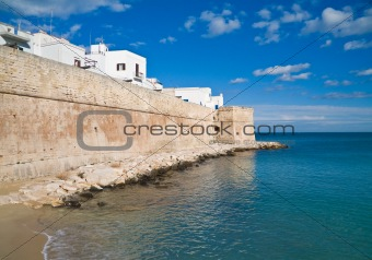 Ancient fortified wall of Monopoli. Apulia.
