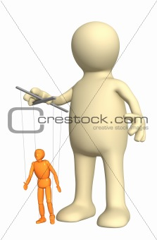 3d puppet, managing a small doll